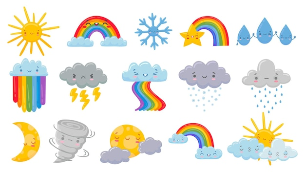 Cute cartoon weather   illustration set.