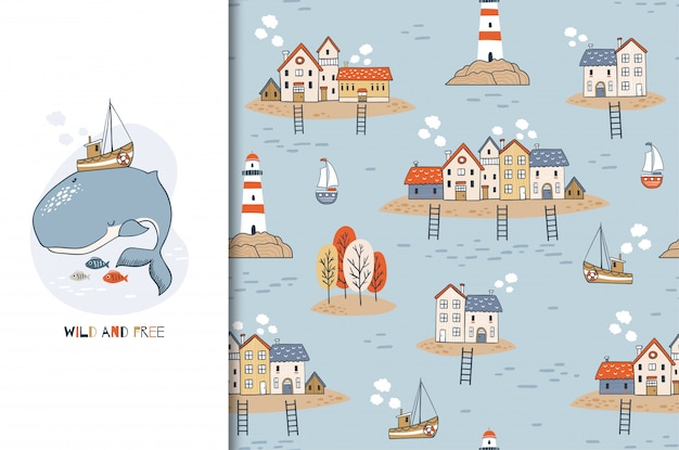 Cute cartoon whale character with boat on the back and seamless background with houses on the islands and a lighthouse. hand drawn marine design illustration.