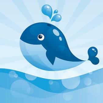 튀는 분수와 귀여운 만화 고래