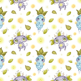 귀여운 만화 기발한 마법의 숲 괴물 원활한 패턴 프리미엄 벡터