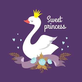 Cute cartoon white baby swan princess