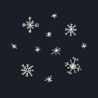 Cute cartoon white christmas snowflakes for new year design, labels, coloring books, greeting cards
