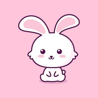 Cute cartoon white rabbits vector art