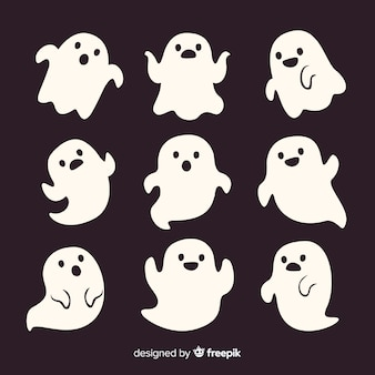 Cute cartoon white smiley halloween ghosts