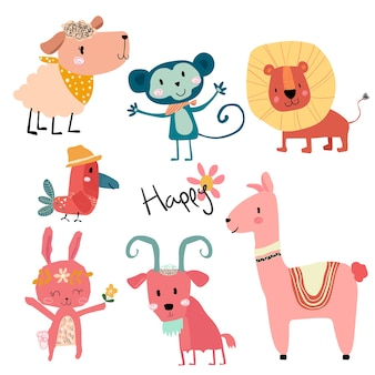 Cute cartoon wild animal character set