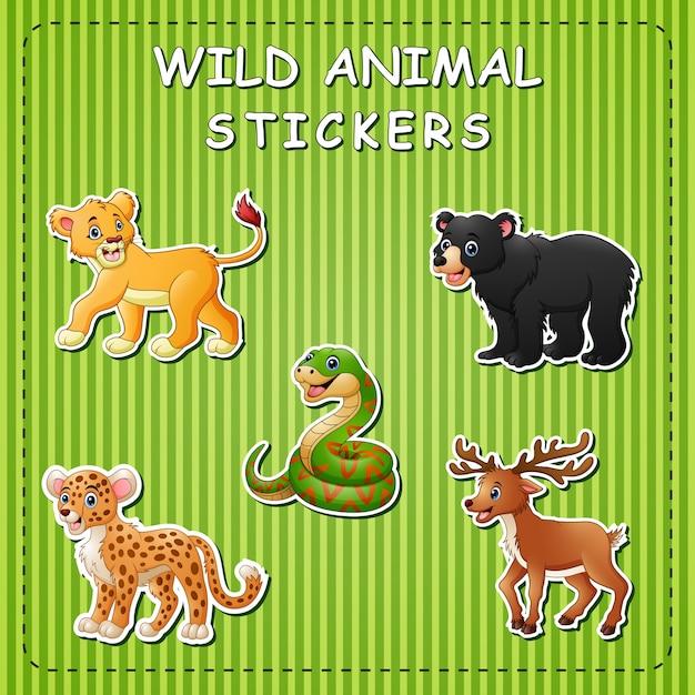 스티커에 귀여운 만화 야생 동물