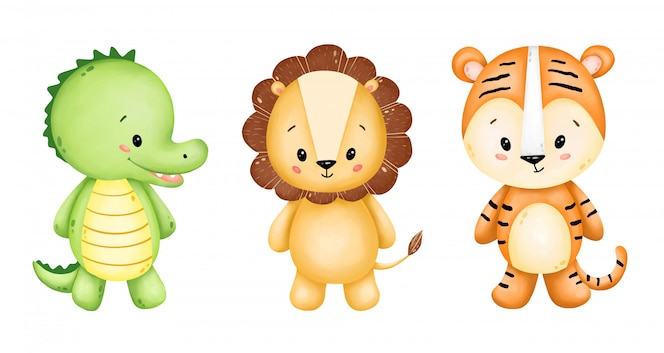 Cute cartoon wild animals set