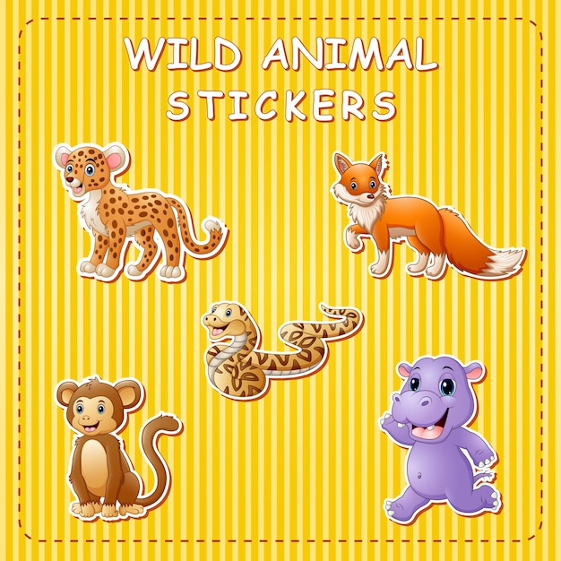 Cute cartoon wild animals on sticker