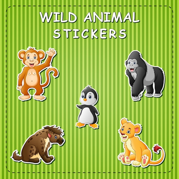 Cute cartoon wild animals on sticker