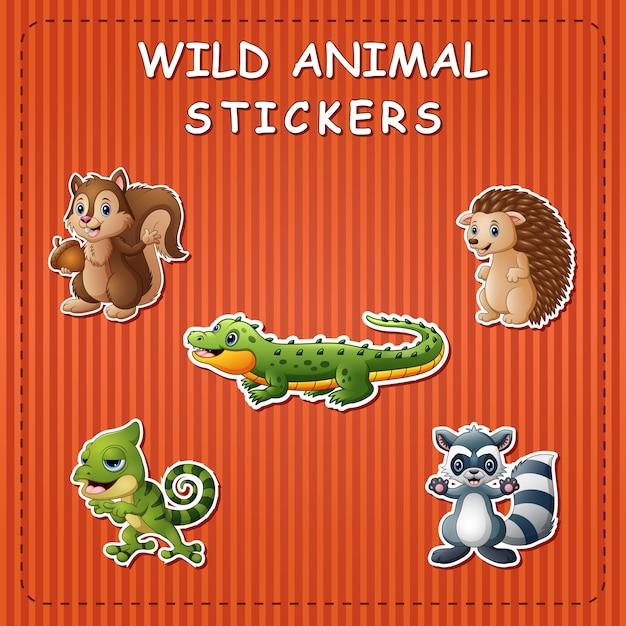 Cute cartoon wild animals on stickers