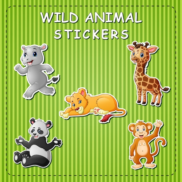 Cute cartoon wild animals on stickers