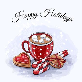 빨간 코코아 컵과 겨울 과자 귀여운 만화 겨울 카드