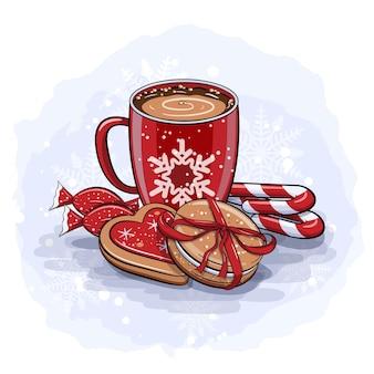 赤いココアカップと冬のお菓子とかわいい漫画の冬のカード
