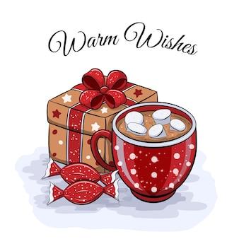 Симпатичная мультяшная зимняя открытка с красной чашкой какао