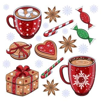 휴일 음식과 음료의 귀여운 만화 겨울 세트