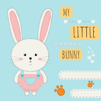Cute cartoon with a rabbit