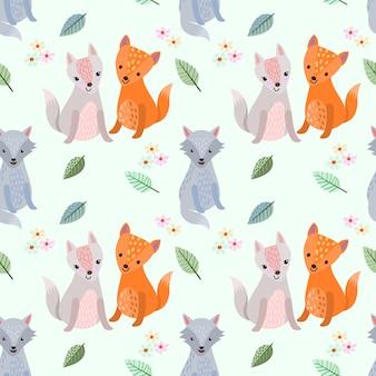Cute cartoon wolf seamless pattern.