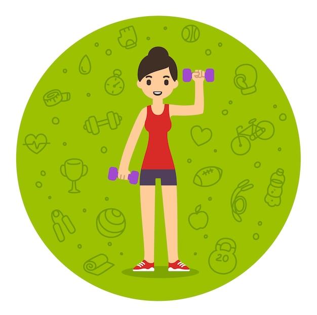 ダンベルで運動するかわいい漫画の女性