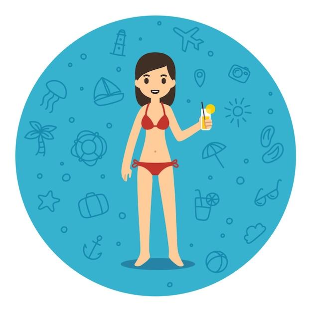 飲み物のガラスを保持しているビーチでかわいい漫画の女性