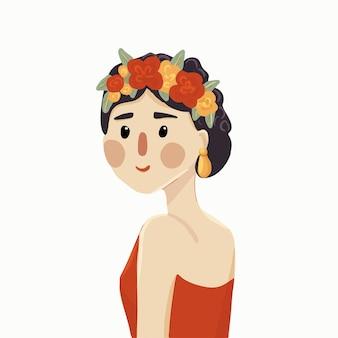 머리에 꽃 화 환을 가진 귀여운 만화 여자