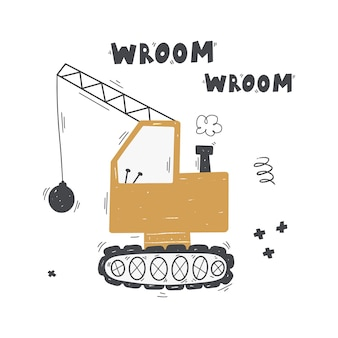 Cute cartoon yellow construction vehicle for the demolition of the building with lettering  wroom