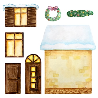 Cute cartoon yellow house, dark wooden windows, doors, christmas decorations constructor on white background. watercolor elments set perfect for creating your house design. fantasy illustration.