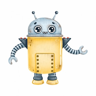 Cute cartoon yellow robot with big eyes on a white background