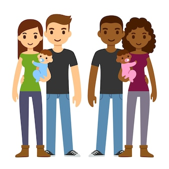 Cute cartoon young couples, caucasian and black, holding newborn baby and smiling.