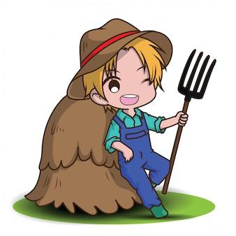 Cute cartoon young farmer holding rake.