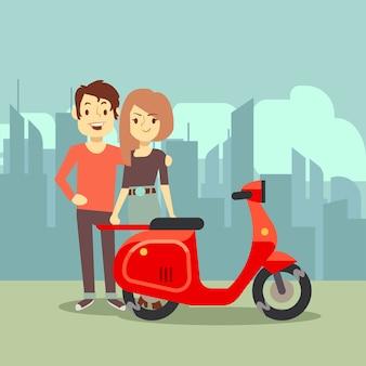 도시 풍경에 귀여운 만화 젊은 연인과 자전거