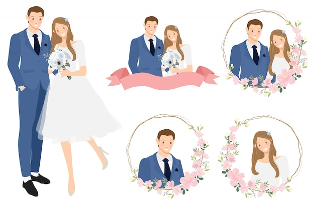Cute cartoon young wedding couple in cherry blossom wreath