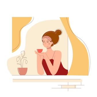 Cute cartoon young woman drinking tea in a window.