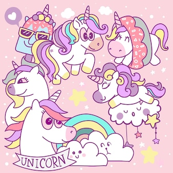Cute cartoons in kawaii style collection with unicorn,isolated vector illustration on a  background. stickers, buttons, and patches of the animated comic format elements in unicorn and modern art