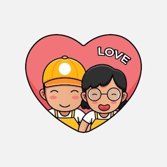발렌타인 데이에 귀여운 점원 커플