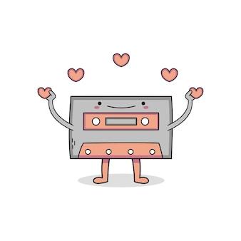 ラブソングを再生するかわいいカセット漫画のキャラクター