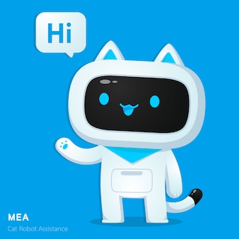 Cute cat ai robot assistance character in greeting action