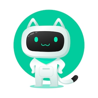 Cute cat ai robot assistance character use for illustrations