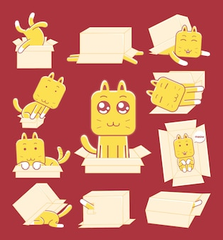 フラットなデザインスタイルのかわいい猫とボックス