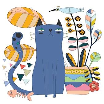 かわいい猫とかわいい鳥と木
