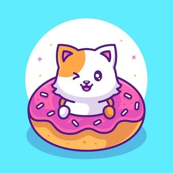 평면 스타일의 귀여운 고양이와 맛있는 도넛 음식 또는 애완 동물 로고 벡터 아이콘 그림