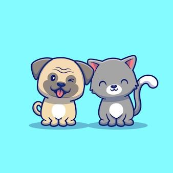 Симпатичные кошка и собака мультфильм значок иллюстрации. концепция животных значок изолированы. плоский мультяшный стиль