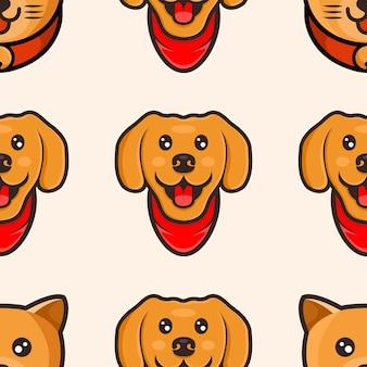 かわいい猫と犬の漫画のパターンデザイン