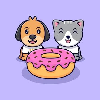 かわいい猫と犬がドーナツを食べる