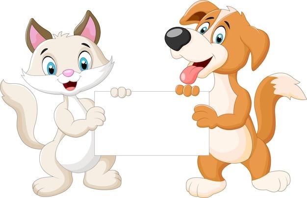 かわいい猫と犬の空白のサイン