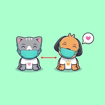 귀여운 고양이와 개가 거리를 유지