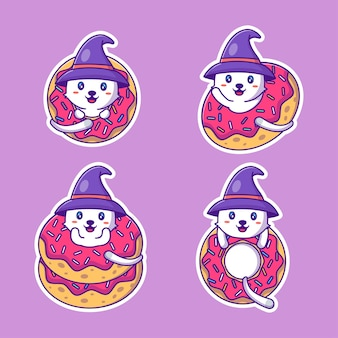 Коллекция наклеек на хэллоуин с милым котом и пончиками
