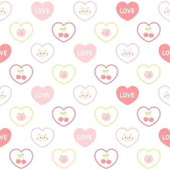 かわいい猫とフルーツの愛の心のシームレスパターン