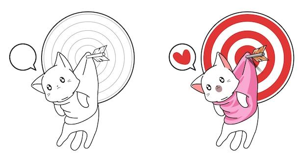 아이들을위한 페이지를 쉽게 색칠하는 화살표 만화가있는 귀여운 고양이와 목표