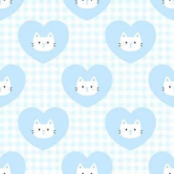 かわいい猫と心のシームレスパターン