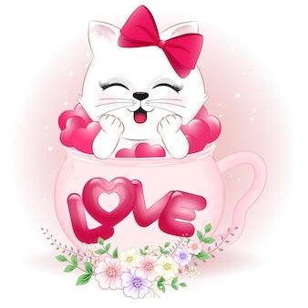 かわいい猫とカップバレンタインデーのコンセプトの心